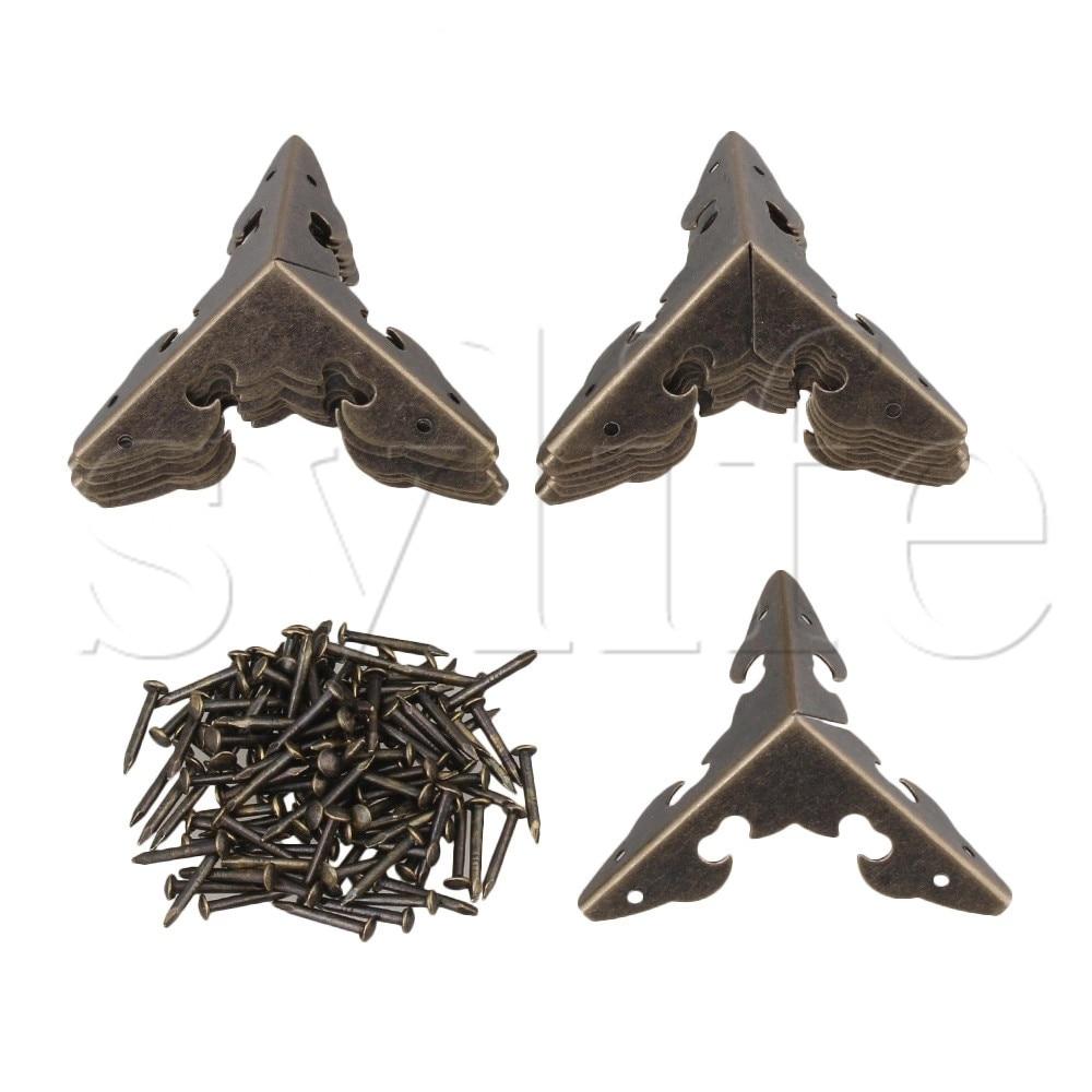 18pcs 30 x 30 x 30mm Decorative Bronzy Metal Table Leg Corner Cover Protector