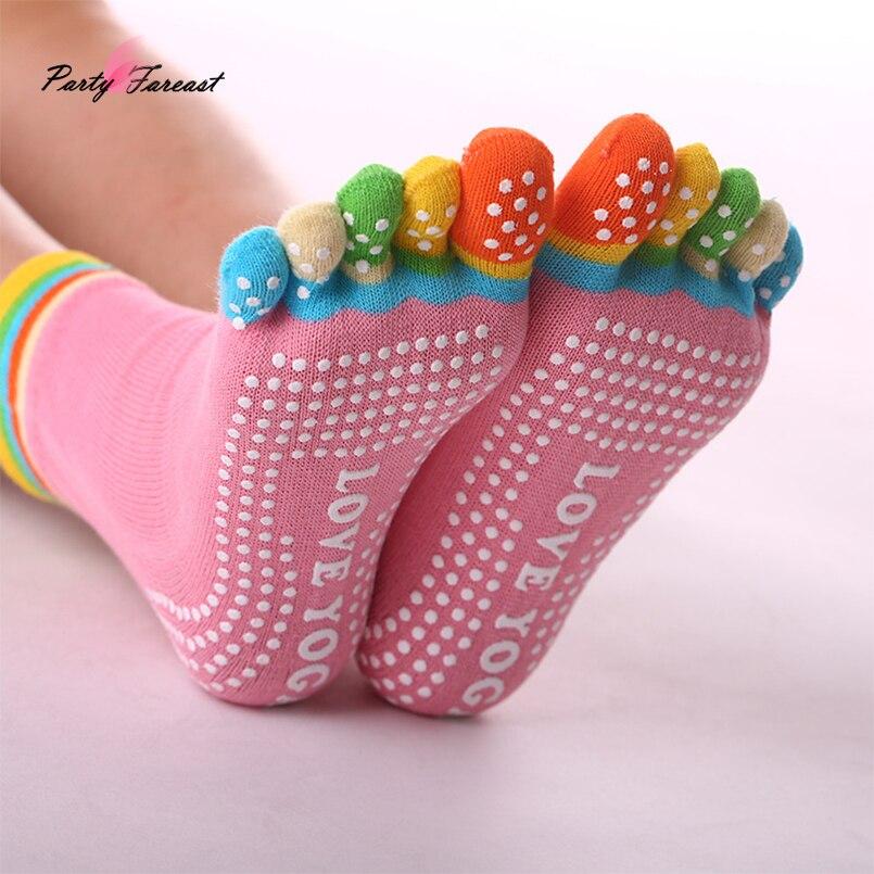 PF coton chaussettes cinq doigts multicolore chaussettes résistance au dérapage points impression motif Chaussette Femme orteil chaussettes WZ035