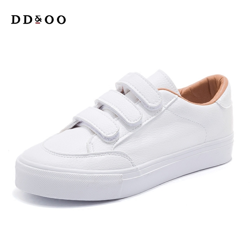 2018 new womens shoes spring fashion white sneakers platform leather women vulcanized shoes platform breathable solid color
