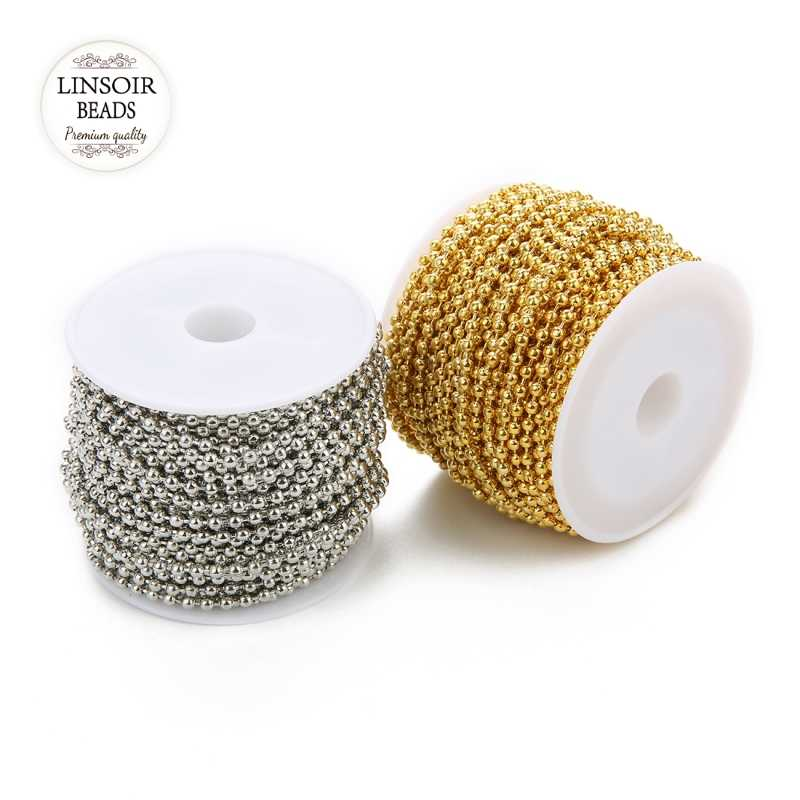 New 10yards/lot Width 1.5/2/2.4mm Metal Iron Ball Bead Link Chains Bulk Gold Silver Necklace Chain Findings For Jewelry Making