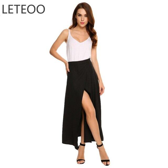 de7e41c38c5742 LETEOO Hoge Taille Maxi Rok Herfst Rokken Womens Vrouwelijke Voorzijde Split  Asymmetrische Chiffon Lange Rok Zwart