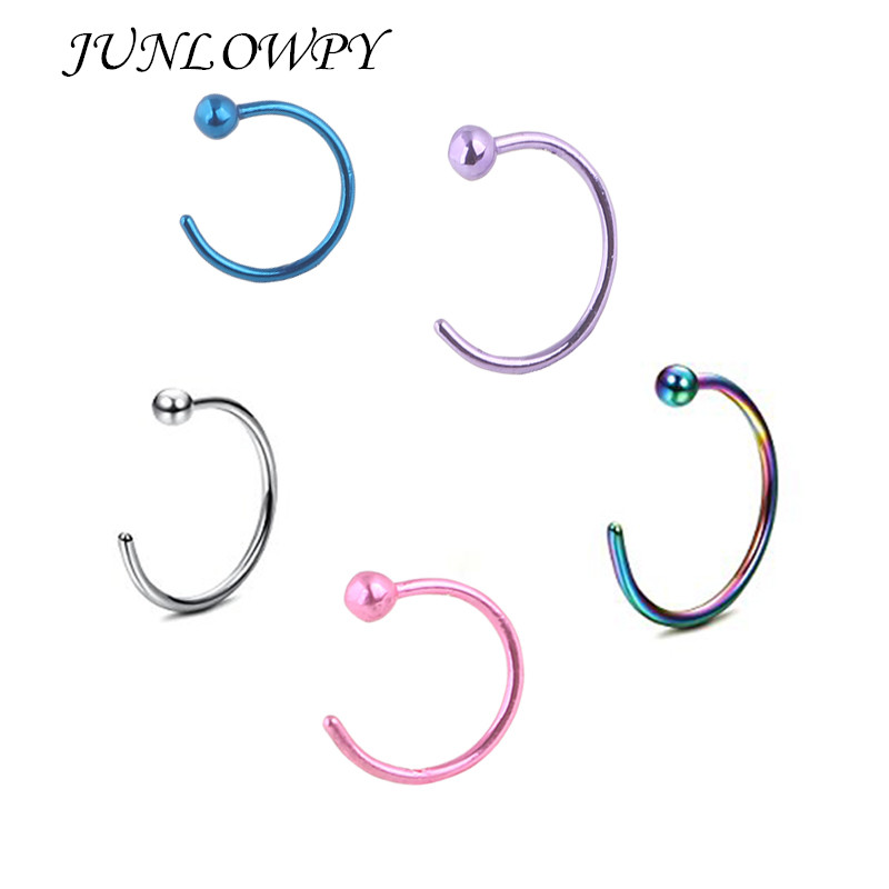 JUNLOWPY Plated Titanium Nose Ring Hoop Ball Nose Ring Piercing Nariz Piercing Nez Sexy Body Jewelry Nose Stud
