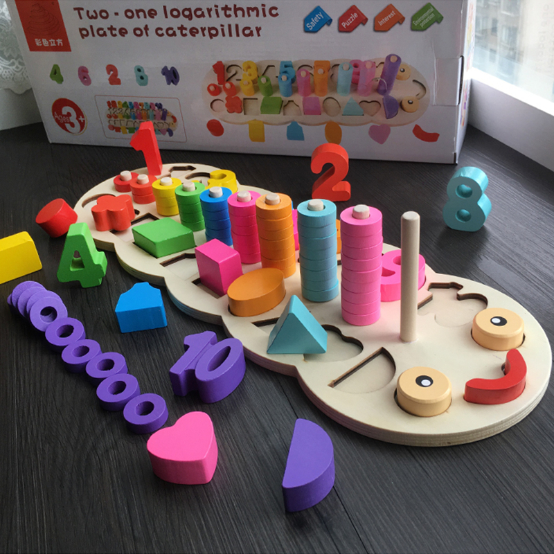 Children Wooden Montessori Materials Learning To Count Numbers Matching Digital Shape Match Early Education Teaching Math Toys in Math Toys from Toys Hobbies