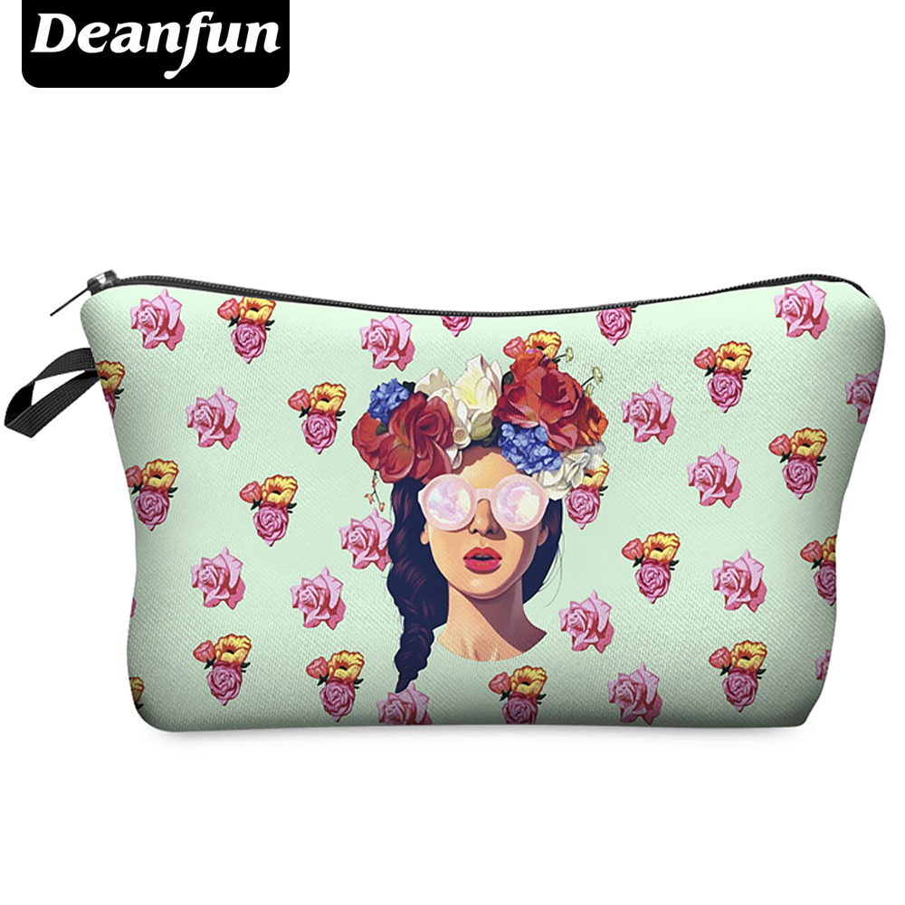 Deanfun 3D Printing Makeup Bags With Multicolor Pattern Cute Cosmetics Pouchs For Travel Ladies Pouch Women