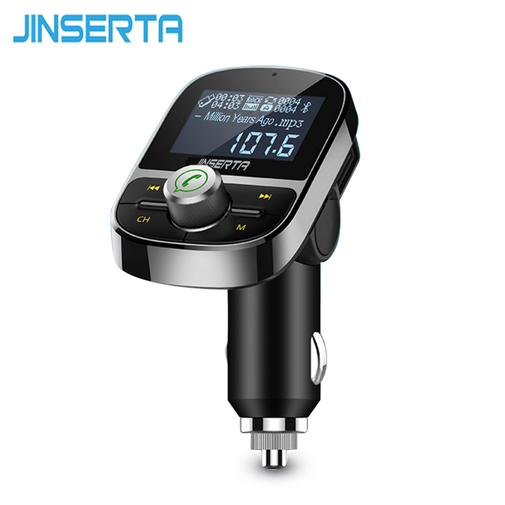 JINSERTA 2018 FM Transmitter Wireless Bluetooth FM Modulator Handsfree Car Kit LCD Radio Audio Car MP3 Player 3.5mm AUX Adatper