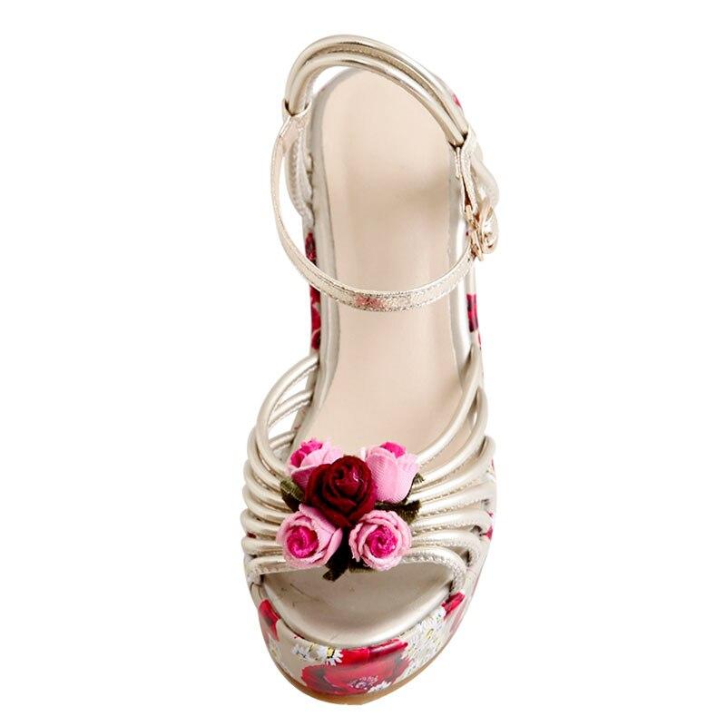 Sintético Correa Calzado La Stilettos Bombas Mujeres Señoras Retro Sandalias De Muchacha silver Tobillo Partido Gold Volver Cuñas Floral Fanyuan HXSqEw5