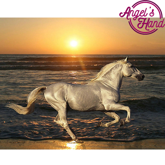 575cad3156c DIY Diamond Embroidery sunrise scenery picture Resin diamond Painting  animals horse Rhinestones Cross Stitch Handmade Home