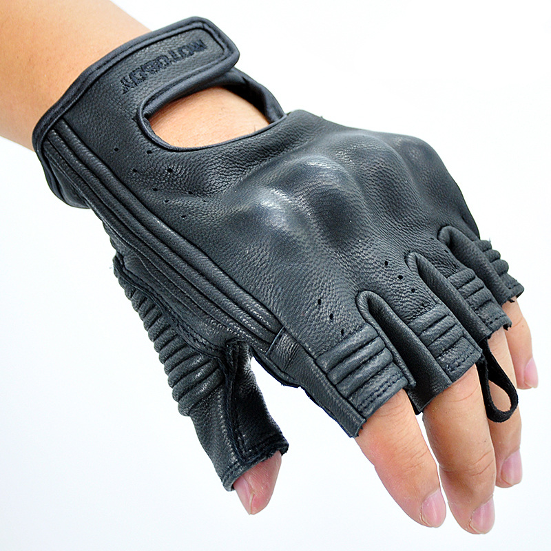 New Motoboy Motorcycle Gloves Mitt Glove Half Finger Fingerless Cycling Leather Summer Mitten Electric Bike Racing Cycling leather