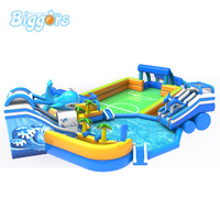 Summer Outdoor Giant Inflatable Water Park Slide With Pool Inflatable Amusement Water Game For Kids And Adult Party Game