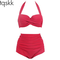 TQSKK 2017 New Halter High Waist Bikinis Sexy Solid Women Swimsuit Female Summer Beach Wear Bikini