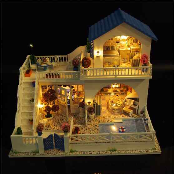 Big size villa Doll House DIY Miniature Dollhouse Model Wooden Toy Furnitures Casa De Boneca Toys Christmas gift