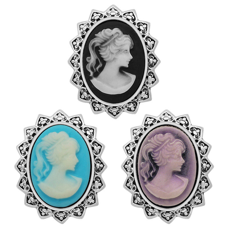 New Trendy PL0113 Vintage Beauty Oval Sculpture Lady 18MM Metal Giner Snap Buttons For DIY Charm Snap Jewelry  Wholesale