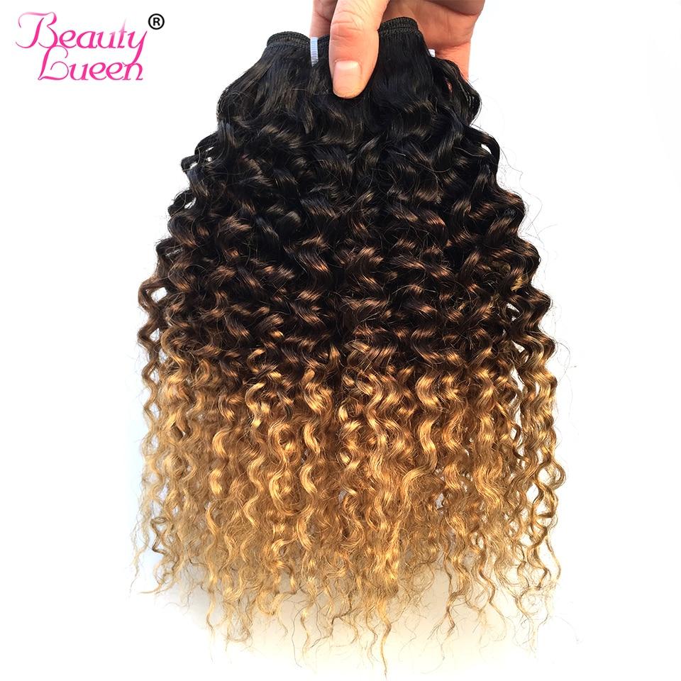 Ombre Kinky Curly Hair Weave T1B 4 27 Ombre Brazilian Hair Weave 1 3 4 Bundles