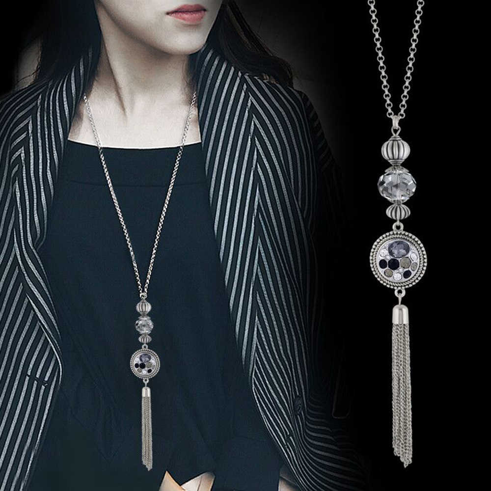 Collares de moda 2019 Choker Tassel Long Necklace Sliver Plated Pendant Necklaces for women Lady fit 18mm Snap Button Jewelry