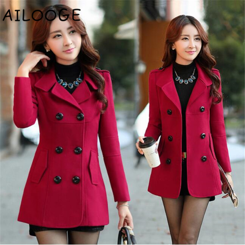 Winter Woolen Coats For Women Fashion Solid Double Breasted Overcoat Turn-down Collar Slim Outerwear Female Trench Coat