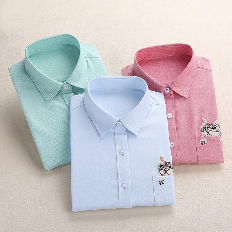 Dioufond Dames Borduurwerk Shirt Kat School Blouses Dames Dames Tops Dames Blusas Plus Size Geborduurd Werk Shirt Herfst 2018
