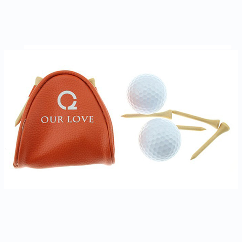 Wholesale Customized Logo Small Golf Ball Bag Mini Golf ball holder with 3 golf training balls and 4 golf tees