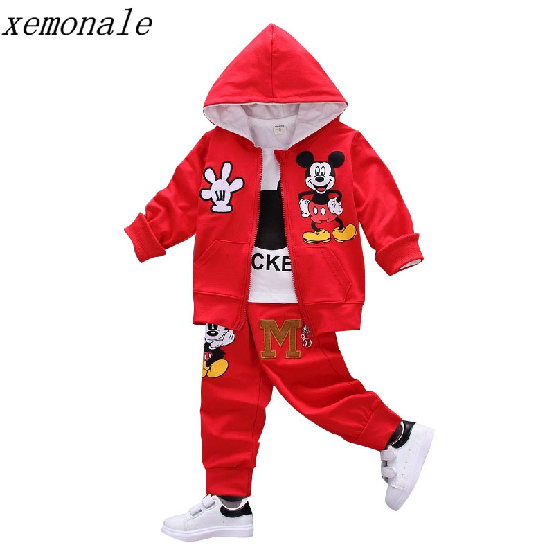 Autumn Baby Girls Boys Clothes Sets Cute Mouse Infant Cotton Suits Coat+T Shirt+Pants 3 Pcs Casual Sport Kids Child Tracksuits