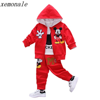 Autumn Baby Girls Boys Clothes Sets Cute Minnie Infant Cotton Suits Coat T Shirt Pants 3