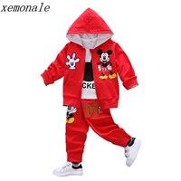 Autumn Baby Girls Boys Clothes Sets Cute Minnie Infant Cotton Suits Coat T Shirt Pants 3