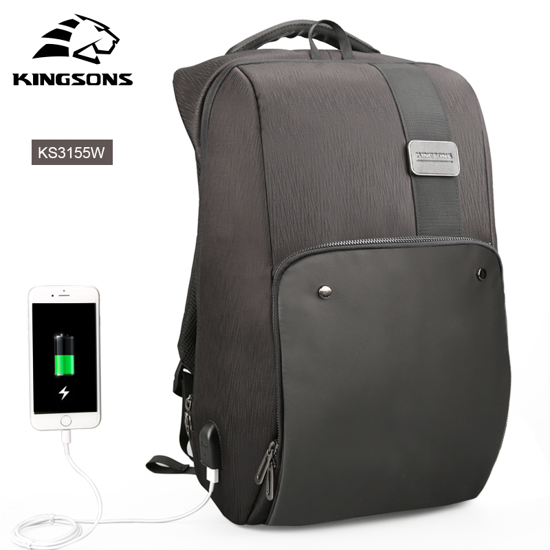 KINGSONS USB Port 15.6 Inch Waterproof Laptop Backpack for Men and Women Business Travel Computer Rucksack with Large Capacity kingsons 2017 large capacity 15 6 inch laptop backpack men business bag women school travel rucksack high quality daily pack