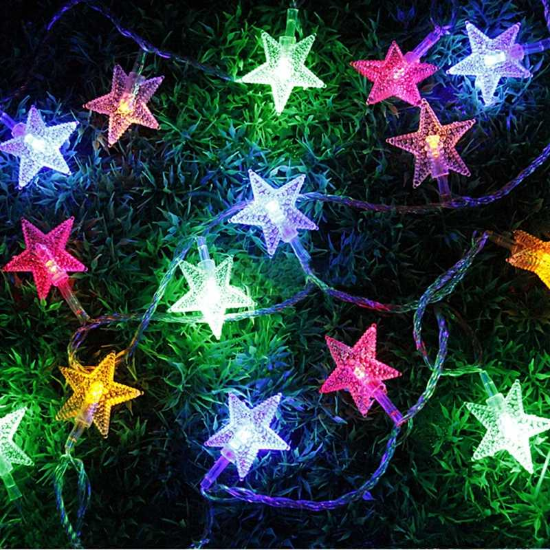 10 20 30 50M Christmas Decorative Star String Lights LED Fairy Garlands Lamp for Garden Railing Holiday Party Wedding Decoration