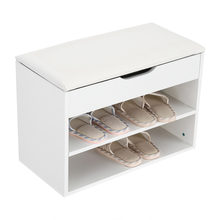 Home Entryway Hallway Shoe Bench Wooden Shoes Storage Organizer Cabinet Padded Seat(Hong Kong,China)