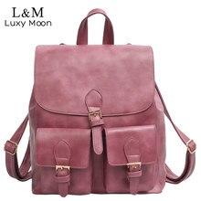 Luxy moon vintage рюкзаки высокое качество pu кожаный женщины сумки девочки-подростки простой стиль рюкзаки школьные сумки mochila xa1057h