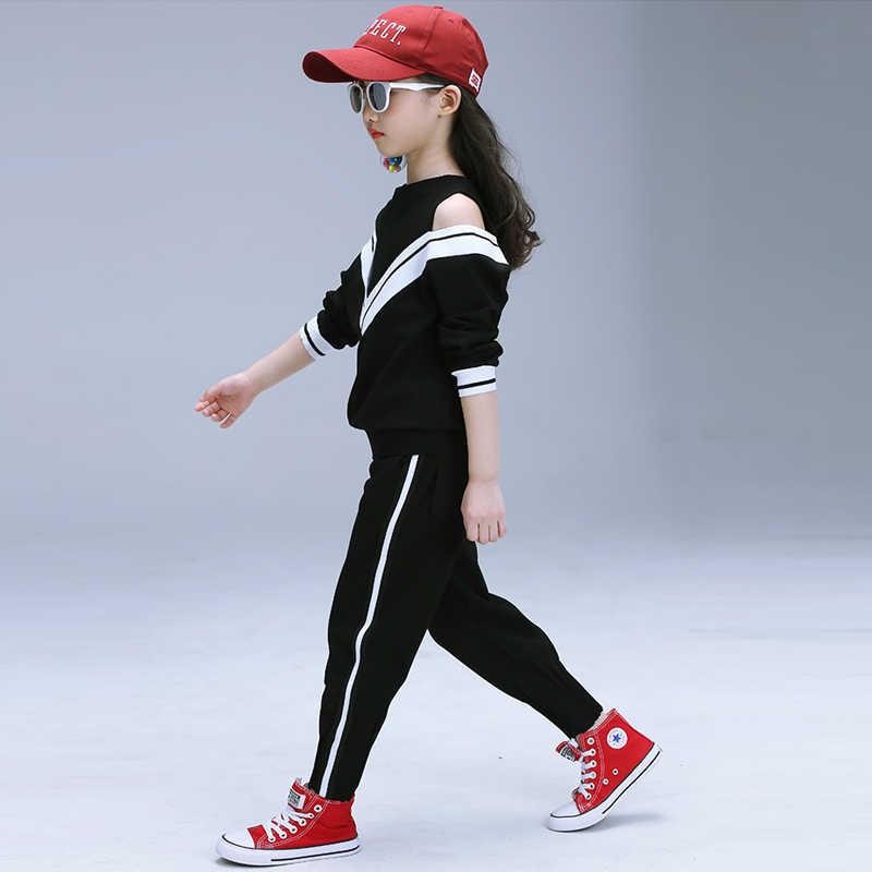 สีขาวชุดกีฬาหญิงวัยรุ่นฤดูใบไม้ร่วงหญิงชุดแขนยาวและกางเกงสบายๆ 6 7 8 9 10 11 12 ปีเด็กสาวเสื้อผ้า