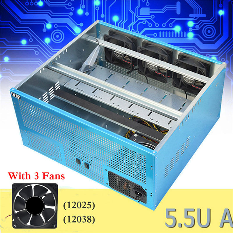 6GPU 8GPU Crypto Coin Open Air Mining Rig Frame Case /with 3 Fan 12038/25 Optional 12V 1.45A Computer Mining Case Server Chassis free delivery original afb1212she 12v 1 60a 12cm 12038 3 wire cooling fan r00