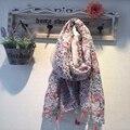 Estampado floral Viscosa Chales Borla Floral hijab, hijab Musulmán, Bufanda de Las Mujeres, bandana, poncho, Chales y bufandas