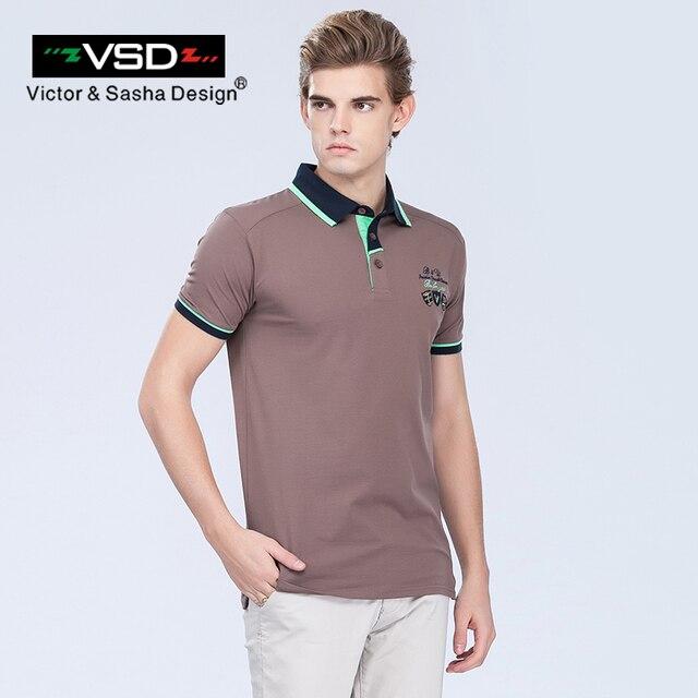 VSD Летние Мужчины Вышивка Polo Рубашки С Коротким Рукавом Известный Бренд Большой размер Slim Fit Твердые Топы Повседневная Хлопок Turn Down Воротник Y625