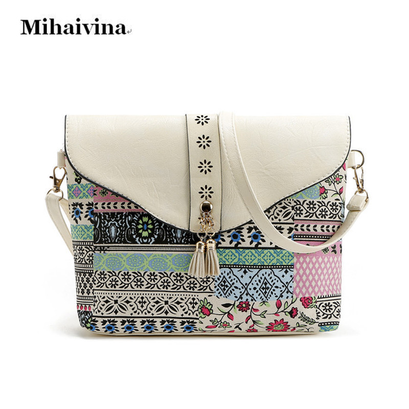 New Fashion Women Canvas Bags Retro Messenger Bag Women Shoulder Bag Tassel Flower Printed Crossbody Bags Lady's Leather Handbag