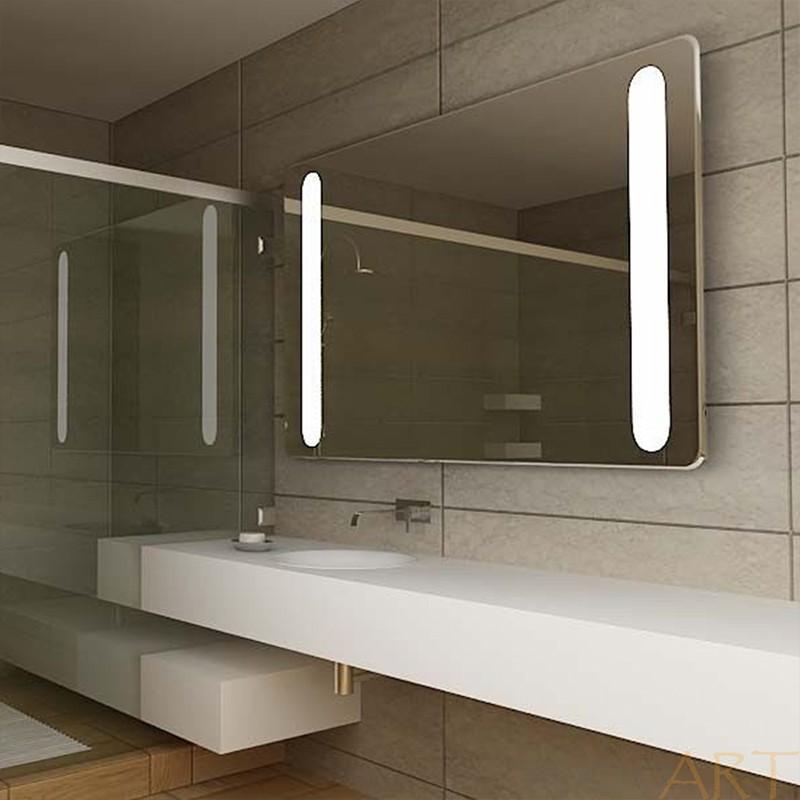 Aluminum Rectangle Led Illuminated Bathroom Mirror With Touch Sensor Switch