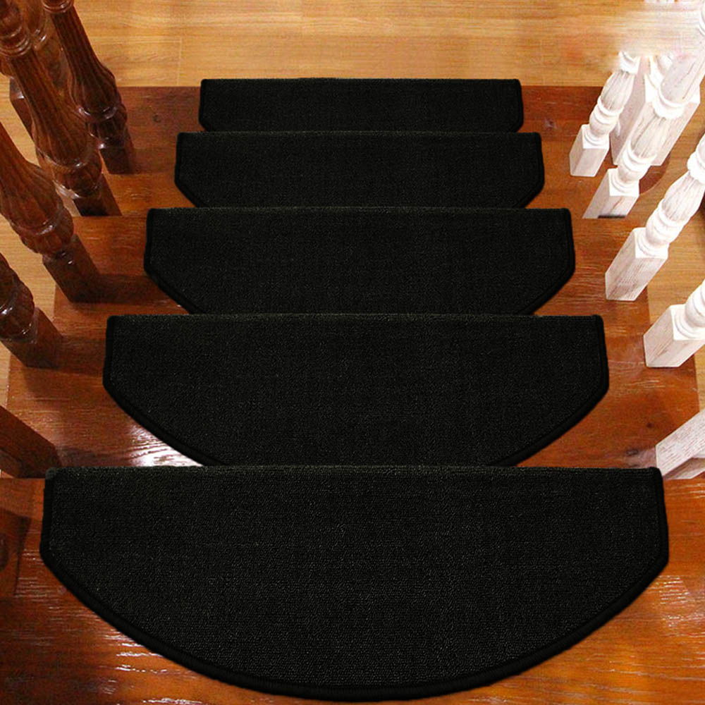Rubber mats for stairs - Yazi 13pcs Anti Slip Stairs Carpet Self Adhesive Black Brushed Plush Rug Living Room