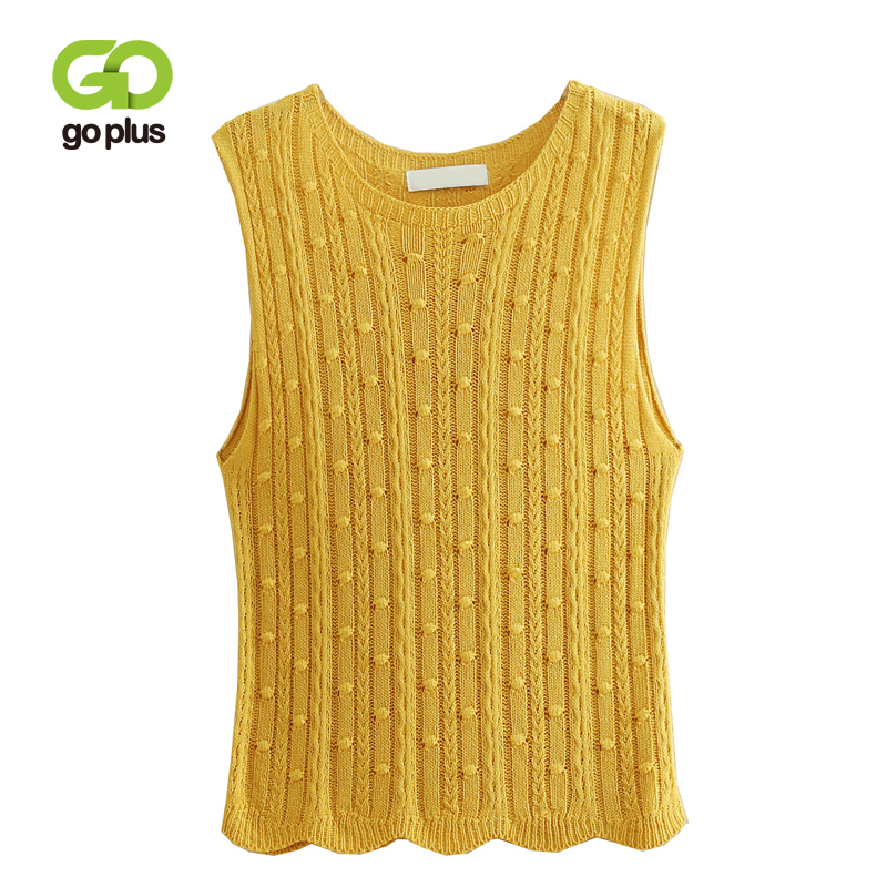 GOPLUS 2019 New Spring Autumn Sweater Vest Women O-Neck Knitted Vests Female Casual Tank Tops Sleeveless Twist Knit Pullovers