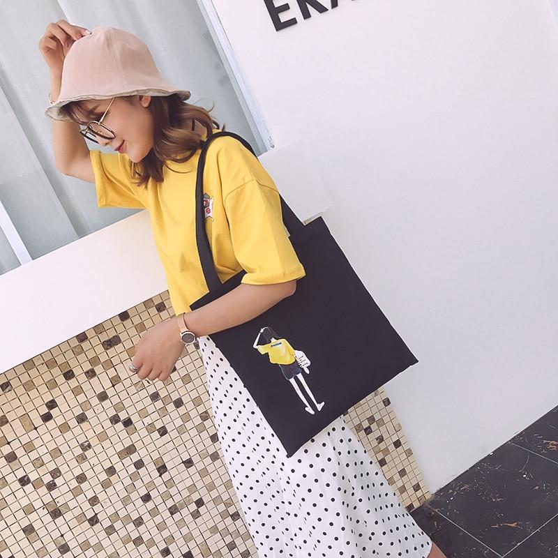 Women Canvas Shoulder Bags Cartoon Printing Characters Casual Girls Handbags Wild Fashion Students Shopping Bag Casual Tote