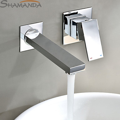 Free Shipping Modern Contemporary Single Handle In Wall Mounted Bathroom Solid Brass Chrome In wall Sink Basin Faucet Mixer-2421 contemporary chrome finish single handle bathroom sink faucet silver