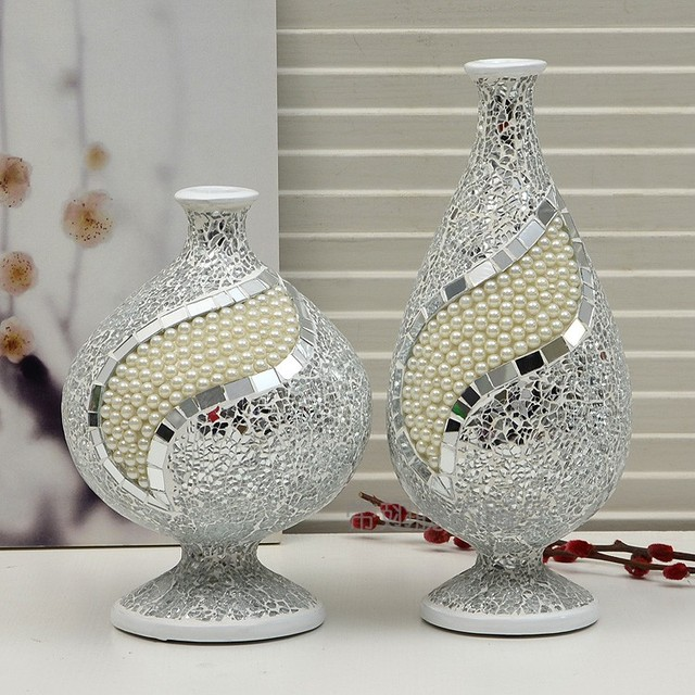 New Brief Quality Resin Broken Glass Pearl By Hand Vase Decoration 2