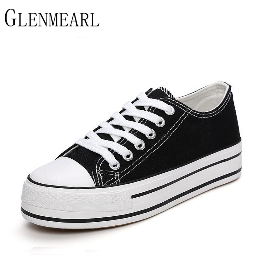 2017 Canvas Women Shoes Flat New Spring Brand Platform Lace UP Height Increasing Casual Shoes For Female Student Canvas Shoes 45