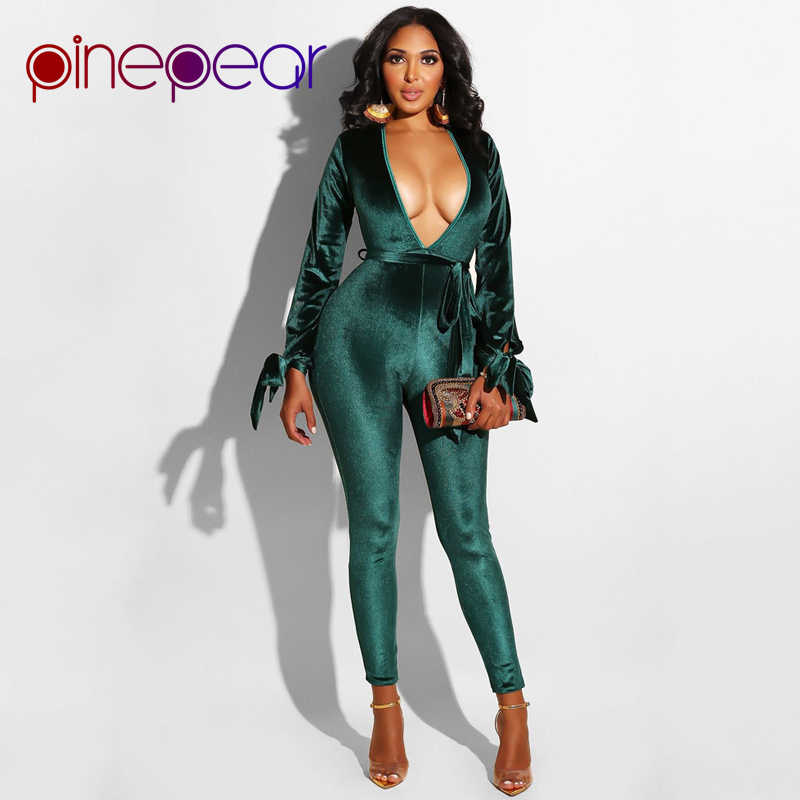 ed329072e04b PinePear Sexy Hollow Out Velvet Jumpsuit 2019 Winter Deep V-Neck Backless  Belt Bandage Bodycon