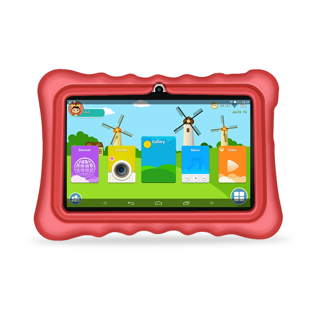 Yuntab 7 inch Q88H Quad Core touch screen 1024*600 Tablet PC load Iwawa kid software ,3D-Game bluetooth Kids Game Apps