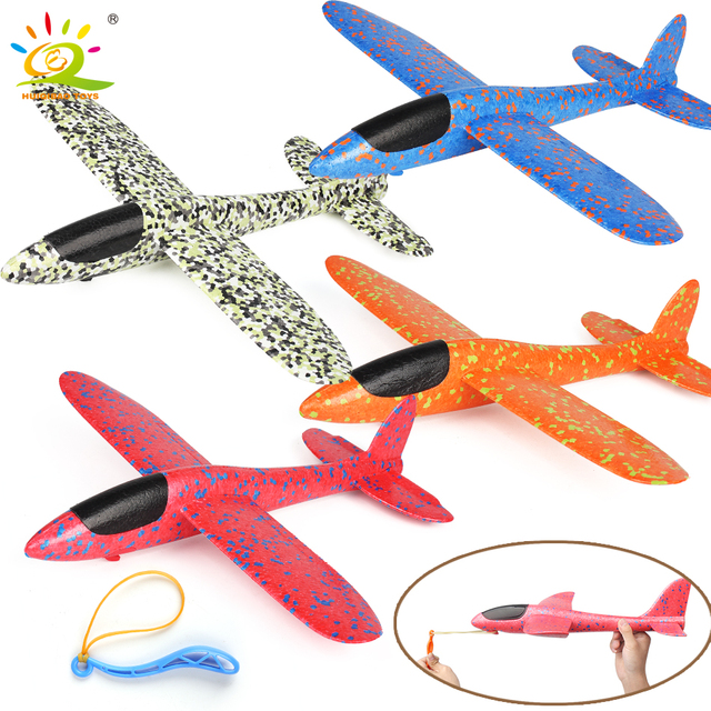 HUIQIAO TOYS 1pc Foam Slingshot Flying Glider Planes launch Airplane hand throw aeroplane model Toys For children 38*37cm 4color