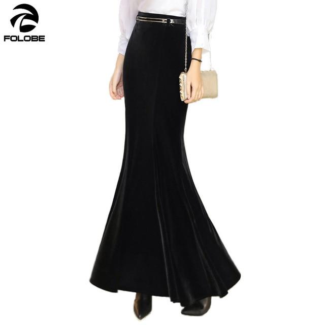 4948426d76020c FOLOBE Autumn Winter Warm Maxi Skirt Women Vintage Velvet Black Long  Mermaid Skirt With Free Belt Plus Size Velour Skirt