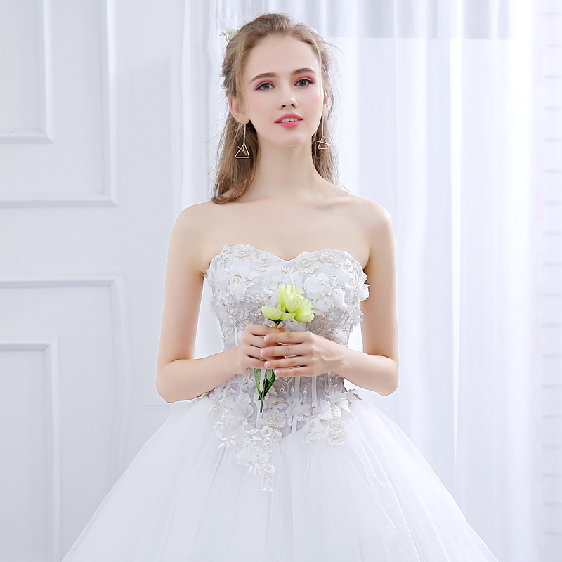 Купить с кэшбэком Ladybeauty New 2018 Wedding Dress Custom Made Slim Appliques Robe De Mariage Puff Yarn Dreaming Straps Lace Vestido De Noiva