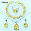 Yellow Zircon Bridal Jewelry Sets Silver Color Overlay  Women Wedding Crystal Bracelets/Necklace/Earrings/Ring/Pendant