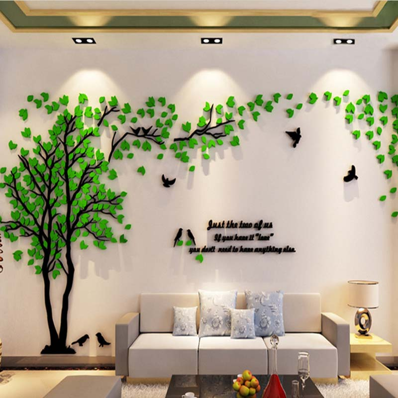 Leaves Birds Crystal Three Dimensional Tree Wall Stickers