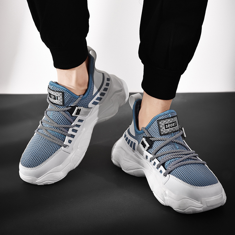 Golden Sapling Platform Sneakers Men Retro Outdoor Men's Sport Shoes Breathable Air Knitting Height Increasing GYM Running Shoes