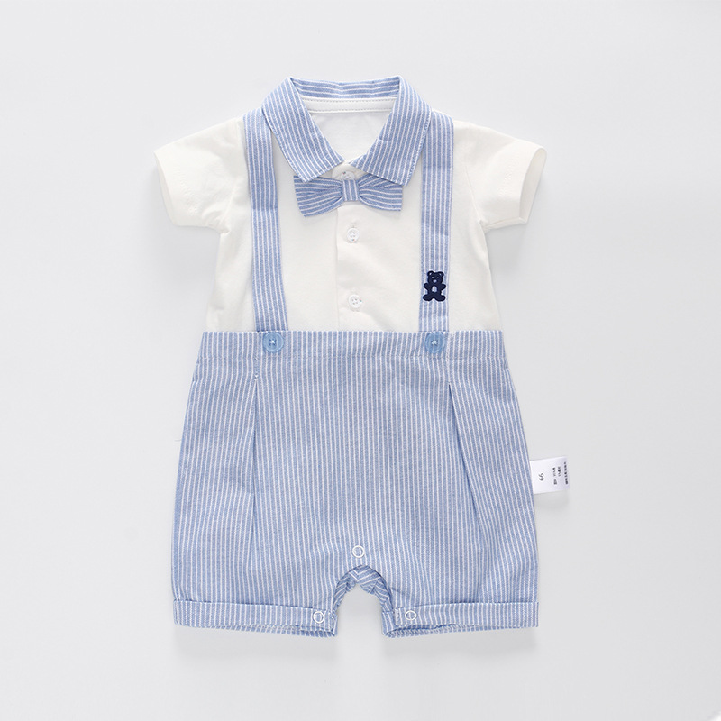 Vlinder Baby boy   Romper   Baby Boy Clothes Newborn Short Sleeve Suspender Clothing Boy suit Bow Tie Cotton Snug Short Jumpsuit