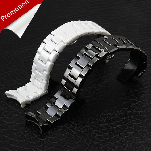 ¡ Promoción!!! 1 unids Correa de Reloj de los hombres y women18mm 22mm Cerámica Blanca correa de reloj negro Correa de Reloj de Diamantes en general